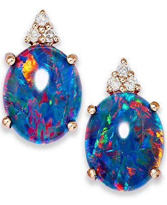 14k Rose Gold Earrings, Opal Triplet and Diamond Accent Earrings - Earrings - Jewelry & Watches - Macy's
