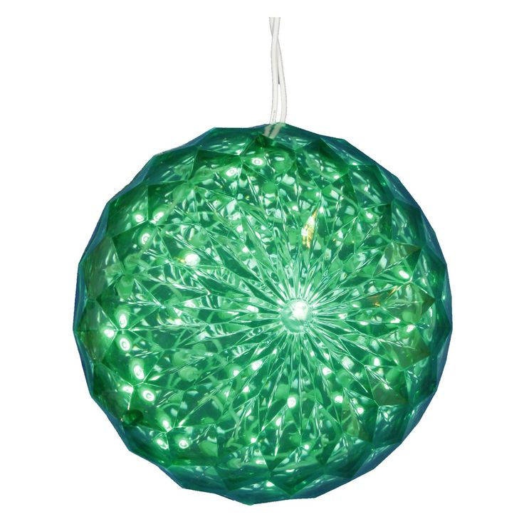 Vickerman 30 ct. Green LED 6 in. Outdoor Crystal Ball - Set of 2 - VKR2459