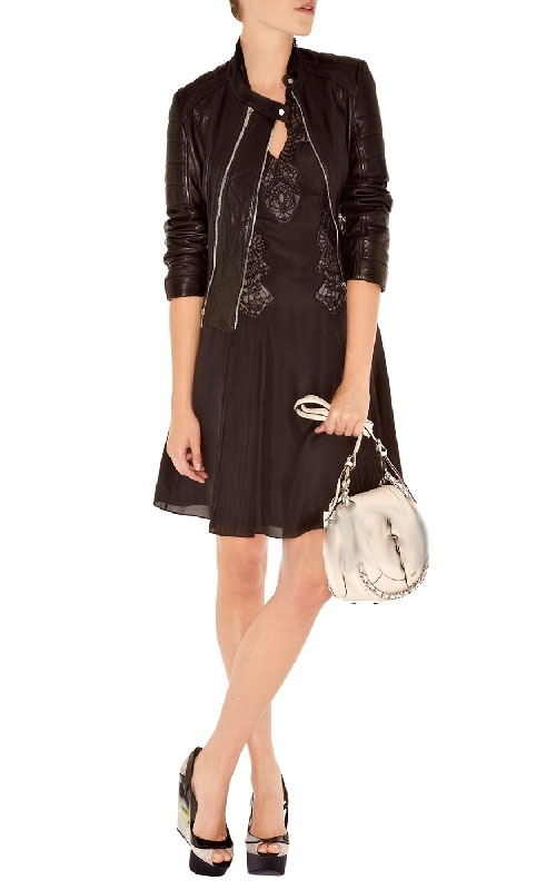 Karen Millen Black A Line Dress With Lace Deail