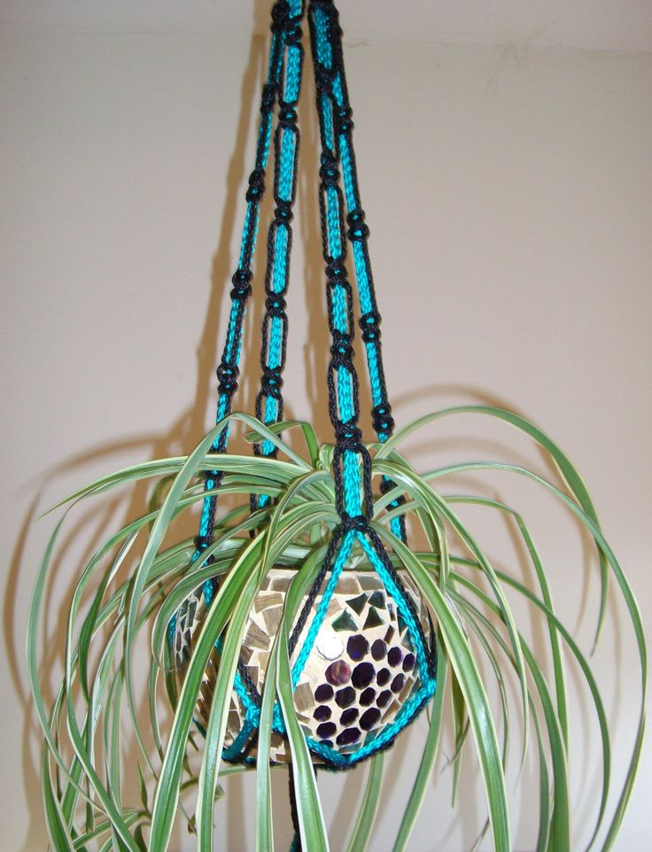 Handcrafted Unique Black And Turquoise Macrame Plant Hanger / Can Be Used  Indooors Or Outdoors /