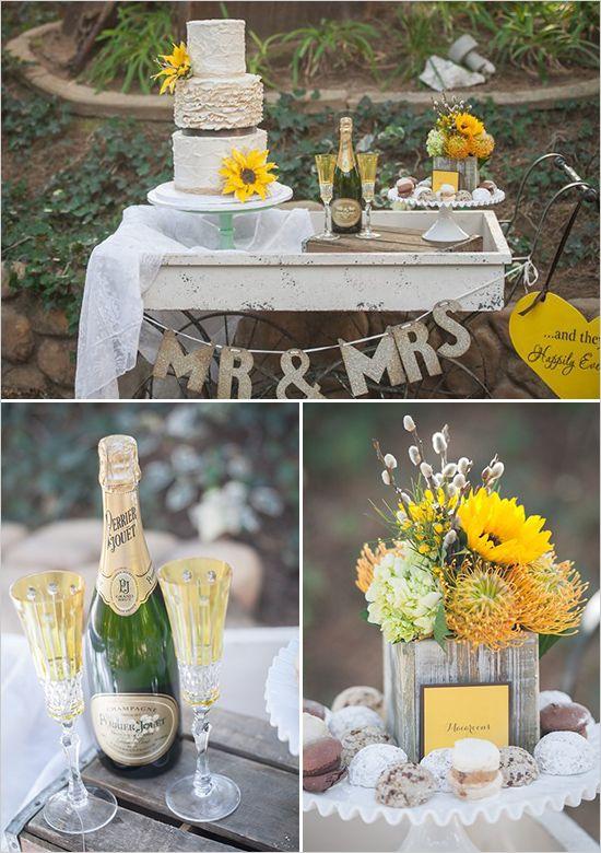 Country Sunflower Wedding Inspiration Rustic Wedding