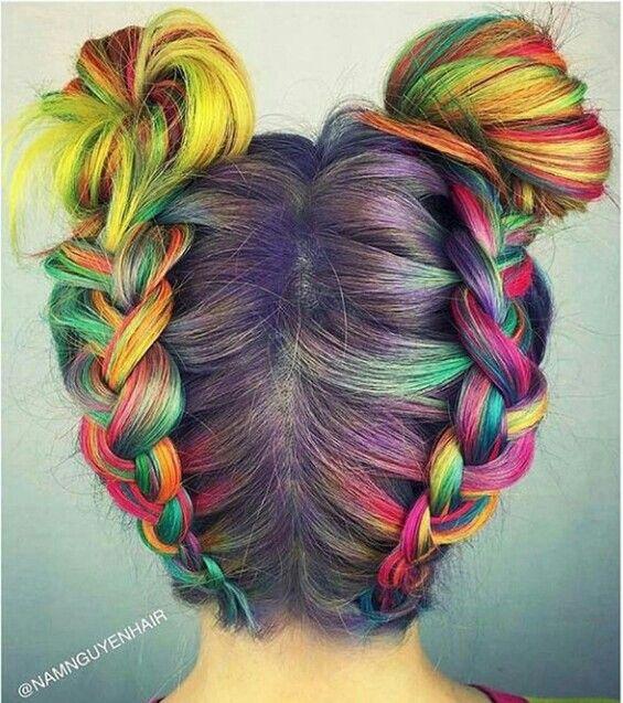 Rainbow, braids, buns. Beautiful!