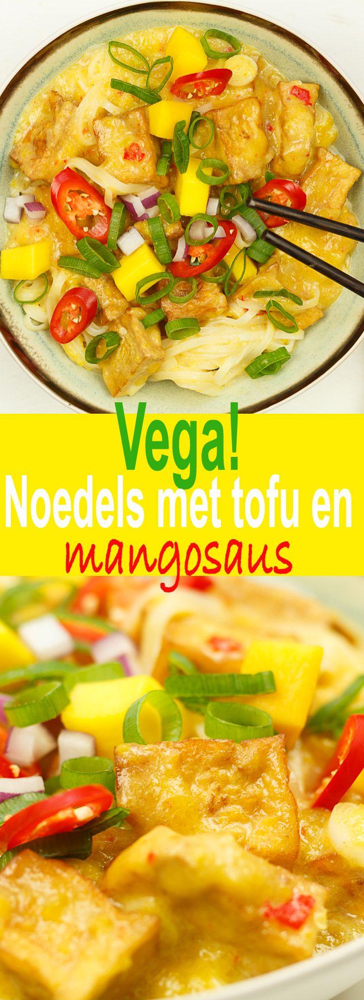 Noedels met tofu in mangosaus