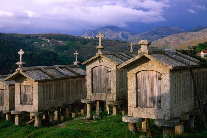 Peneda Geres National Park, Portugal  The espigueiros of Peneda-Geres National Park. The huts are used as storage to protect grains and crops from vermin