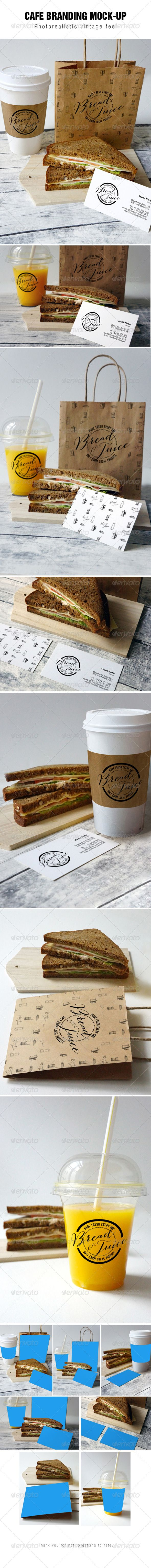Sandwich Cafe Mockup. This is a set of 7 photorealistic Cafe branding mockups vol2. Including business cards, juice cup, coffee cup and paper bag.