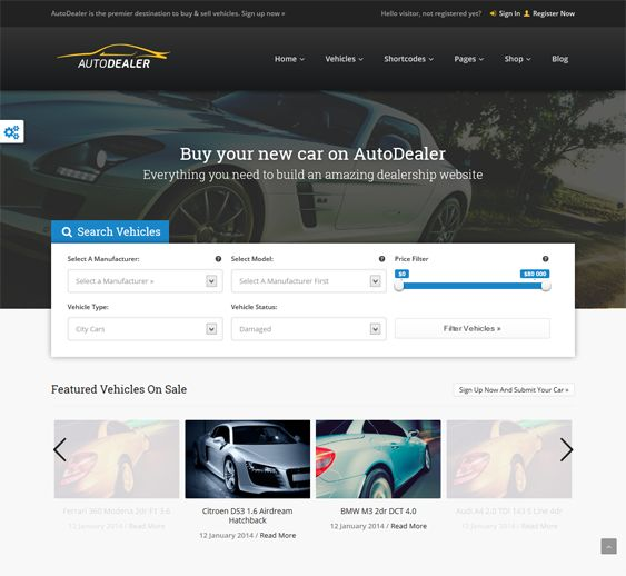 This WordPress theme for vehicle listings websites includes premium front-end submissions, WooCommerce support, email notifications, a favorites system, a responsive design, shortcodes, and more.