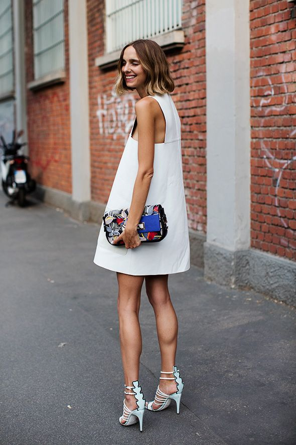 What to Wear Out Tonight: White A-Line Dress, Statement Clutch, Strappy  Heeled Sandals