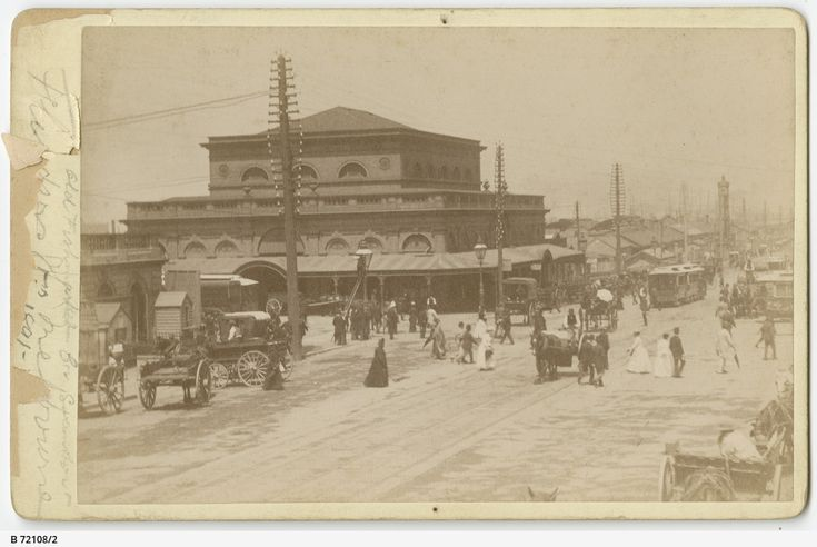 Melbourne Fish Market, corner of Flinders and Swanston Streets, c1891-2. This building would shortly be replaced by Flinders Street Station. Photograph courtesy State Library of South Australia (B 72108/2).