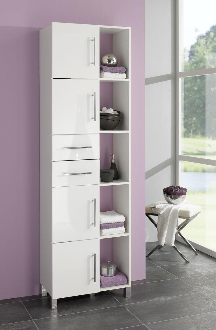 badezimmerschrank weiss hochglanz weiss woody 151 00030 folie modern. Black Bedroom Furniture Sets. Home Design Ideas