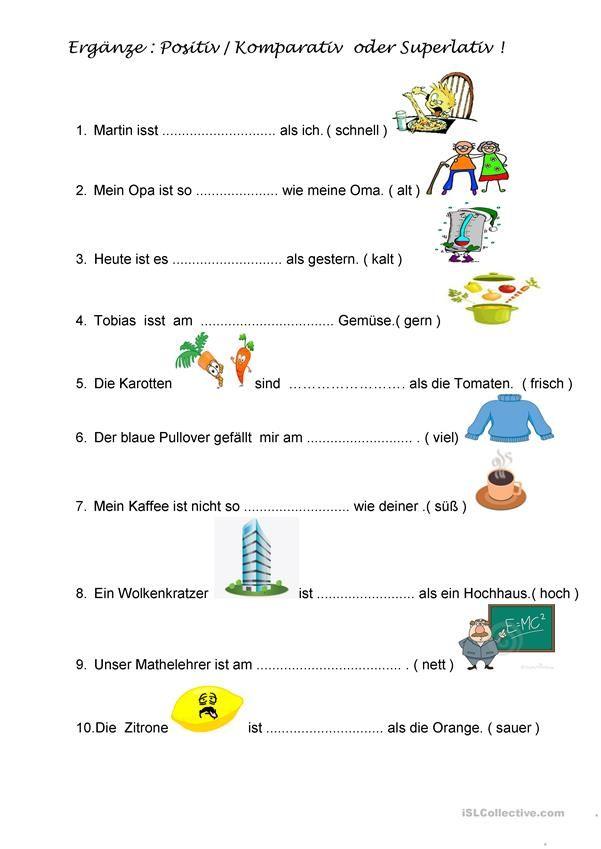 komparation der adjektive deutsch f r kinder arbeitsbl tter language teaching und german. Black Bedroom Furniture Sets. Home Design Ideas