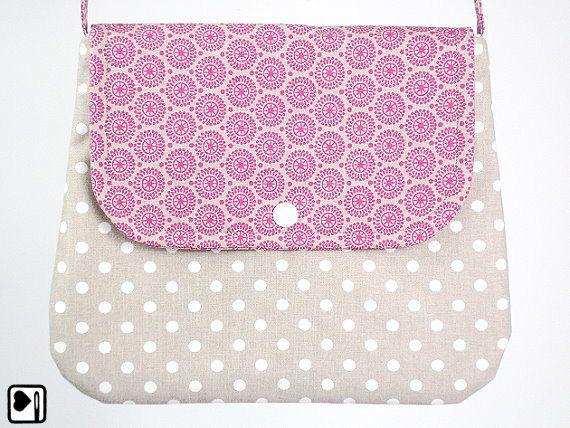 Schultertasche Handtasche Rosa Blüten Polka von BelaineManufaktur, €26.00