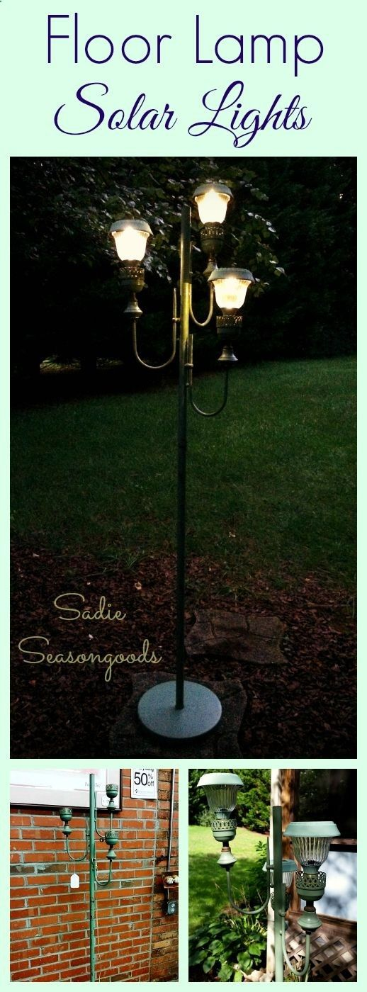 Turn a rickety antique / vintage floor lamp into the most charming solar lights with this easy DIY! Perfect for outdoor parties, weddings, etc.- I just love this upcycle / repurpose project for an old lamp that I don't feel like re-wiring. #SadieSeasongoods