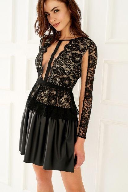 Siyah Dantel Detaylı Elbise