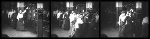1904.  SUMMARY  Almost 200 women file by a device on the wall from which they take their time checks. A man runs half-way across the screen at the end of the film.