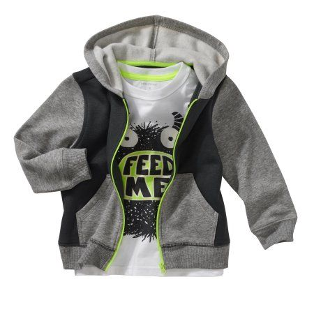 Healthtex Baby Toddler Boy Fleece Hoodie and Graphic T-Shirt 2pc Set, Size: 3 Years, Gray