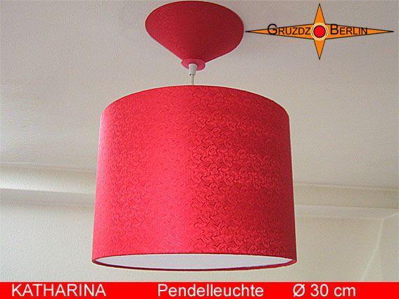 Leuchte KATHARINA, Ø 30 cm Pendellampe mit Diffusor und Baldachin in Seide Rot besticht durch Farbe und den schönen Glanz des Seidensatin mit Jacquardmuster.