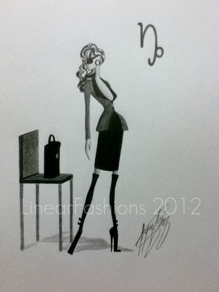 Capricorn Fashion Drawing Zodiac Illustration Astrology