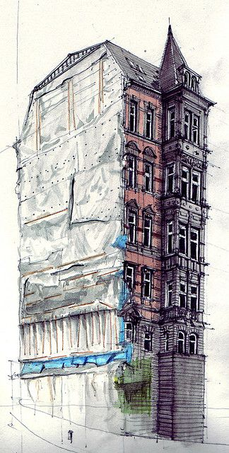 This mixed media drawing is just very impressive I think! The contrast with the greyscale and colour drawings really is emphasised. Different hatchings are used to highlight the volumes and tones of this building and to create a mood for the audience to feel. I think that this could be a section??