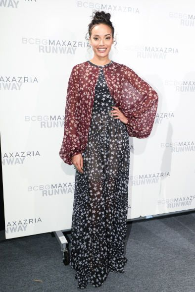 "Model, Selita Ebanks, was glowing in the BCBGMAXAZRIA Runway ""Linette"" dress in New York City at the BCBGMAXAZRIA Fall 2016 Runway Show on Thursday, February 11, 2016."