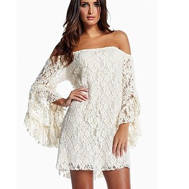 [CyberWeekSale]Women's Spring Sexy Bateau Ruffle Lace Dress – EUR € 9.28