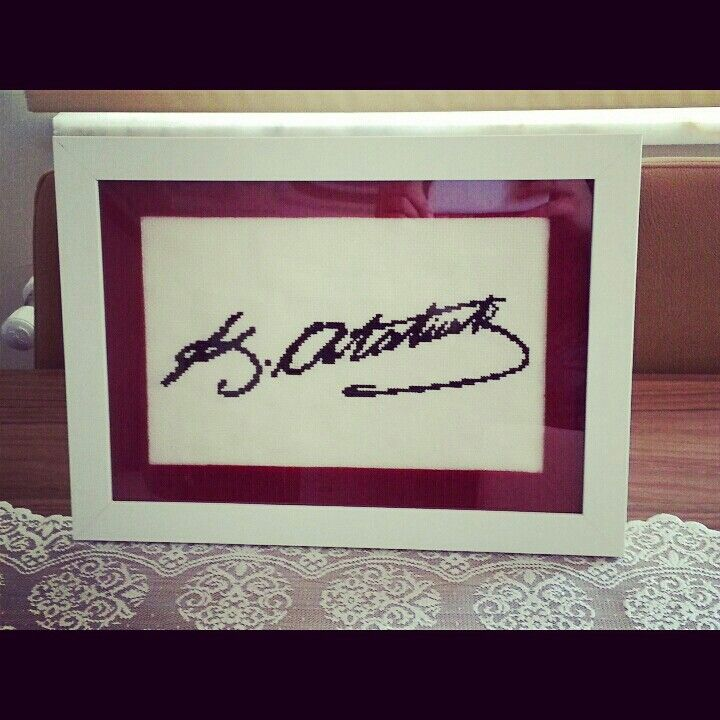 Ataturk signature, cross stitch
