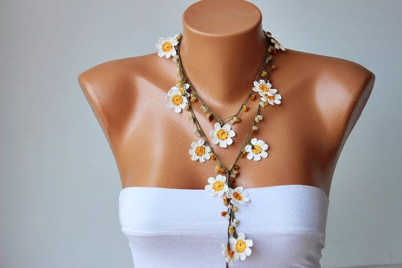 beadwork necklace ,crochet necklace, crochet oya necklace with  naturel stones