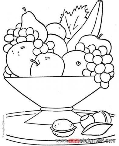 Meyve Tabağı Boyama Sayfaları Yerli Mali Fruit Coloring Pages