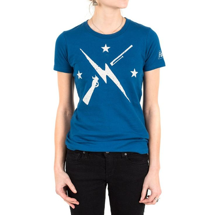 Ladies 100% cotton cool blue t-shirt with 1-color screenprint on front and Fallout logo on sleeve.