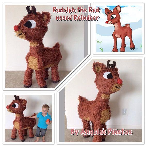 Rudolph The Red Nose Reindeer Custom hand Made Piñata  christmas reindeer pinata…