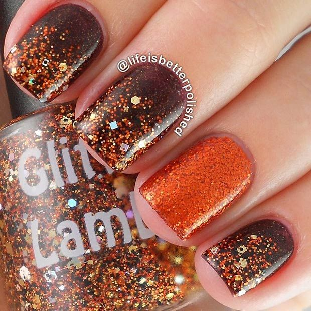 "11. Fall Nail Tips If you are a beginner, practice the leaf shapes on paper first. 12. Brown & Copper Glitter Design Products used: SinfulColors ""Leather Loose"" (deep brown base), Glitter Lambs ""Pumpkin Bread"" (glitter over brown base), and Glitter Lambs ""Pumpkin Spice"" (ring finger). 13. Colorful Leaves Feeling bold? Try this nail shape and …"