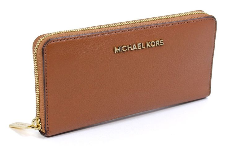 Michael Kors Bedford Zip Around Continental Leather Luggage Brown Wallet.