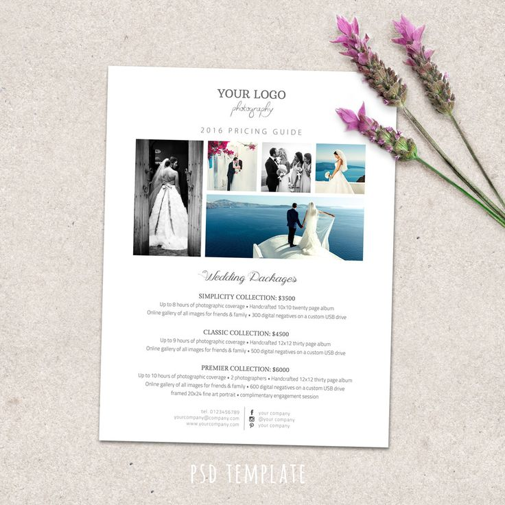 Wedding photography price list template. Marketing & advertising template pricing guide for photographers. Fully editable Photoshop psd file by PenguinGraphics on Etsy