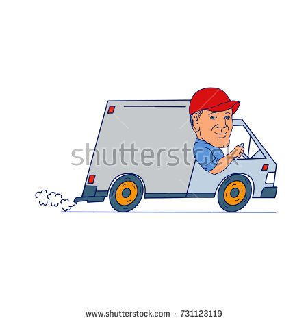 Cartoon style illustration of a Delivery Man guy driver Driving Truck delivery Van viewed from side on isolated background.  #deliveryvan #cartoon #illustration