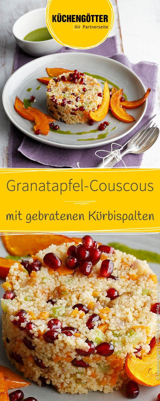 Rezept für Granatapfel-Couscous mit Kürbisspalten.
