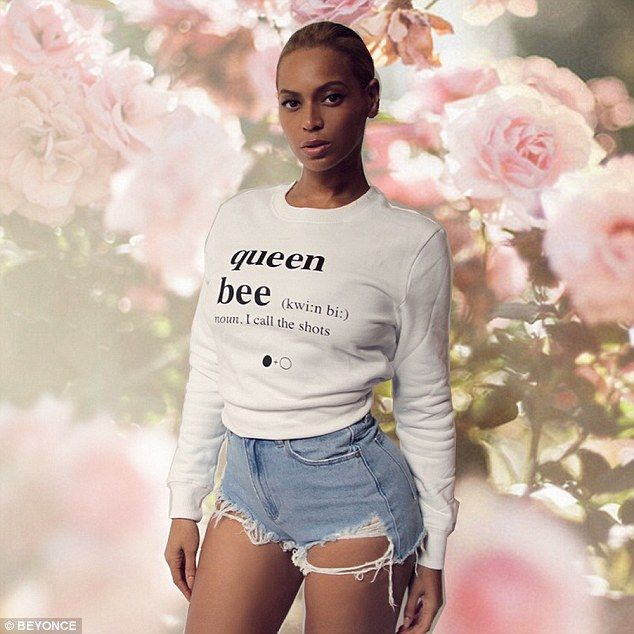 Reigning: Beyoncé reminded everyone who's in charge on Friday as she modeled a 'queen bee' sweatshirt on her Tumblr page