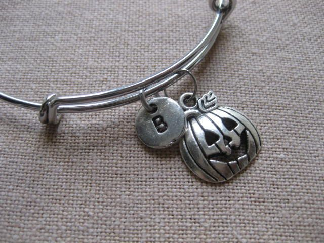 Halloween Pumpkin Charm Expandable Stacking Bangle Friendship Monogram Personalised Initial Bracelet Bridesmaids Gift Christmas Gift For Her by CharmsInFrance on Etsy