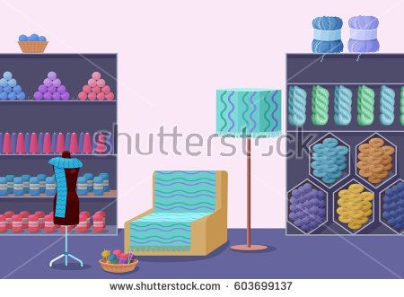 Wool shop interior template with yarn skeins, knitting tools, and handmade hobby accessories in flat style vector illustration