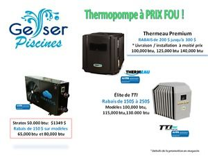 Chauffe-Piscine  (thermopompe ) Rabais de 150 $ jusqu'à 300 $