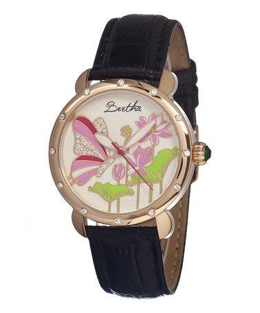 Love this Black & Rose Gold Stella Leather-Strap Watch by Bertha on #zulily! #zulilyfinds