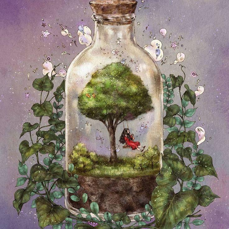 #illustration #drawing #sketch #girl #memory #memories #tree #glassbottle #swing