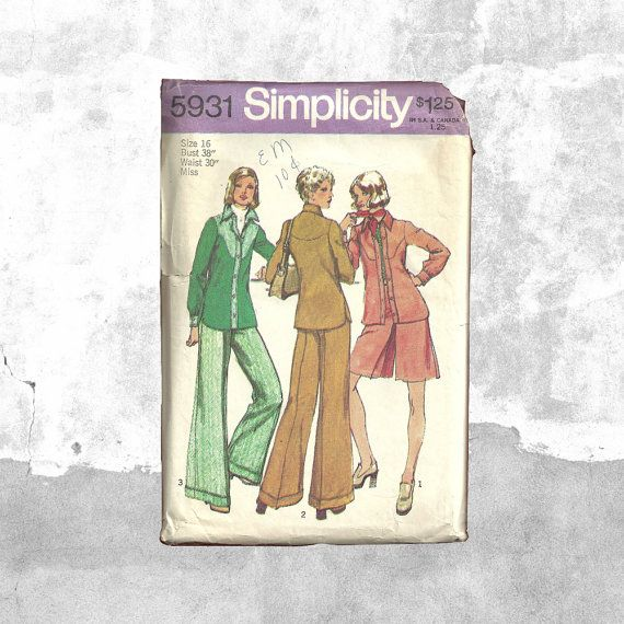 New in Posy Patterns 70s Retro Business Attire  Simplicity 5931  Misses Shirt Jacket  Short Pantskirt Flare Pants  1970s Vintage Sewing Pattern  Office Look by PosyPatterns
