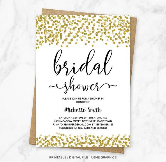 Gold Confetti Bridal Shower Invitation Faux Gold Glitter
