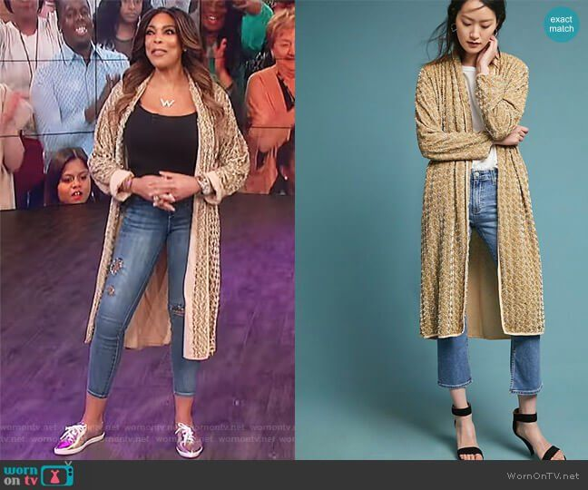 18a0d6dfdb3f Wendy s gold knitted robe on The Wendy Williams Show. Outfit Details   https