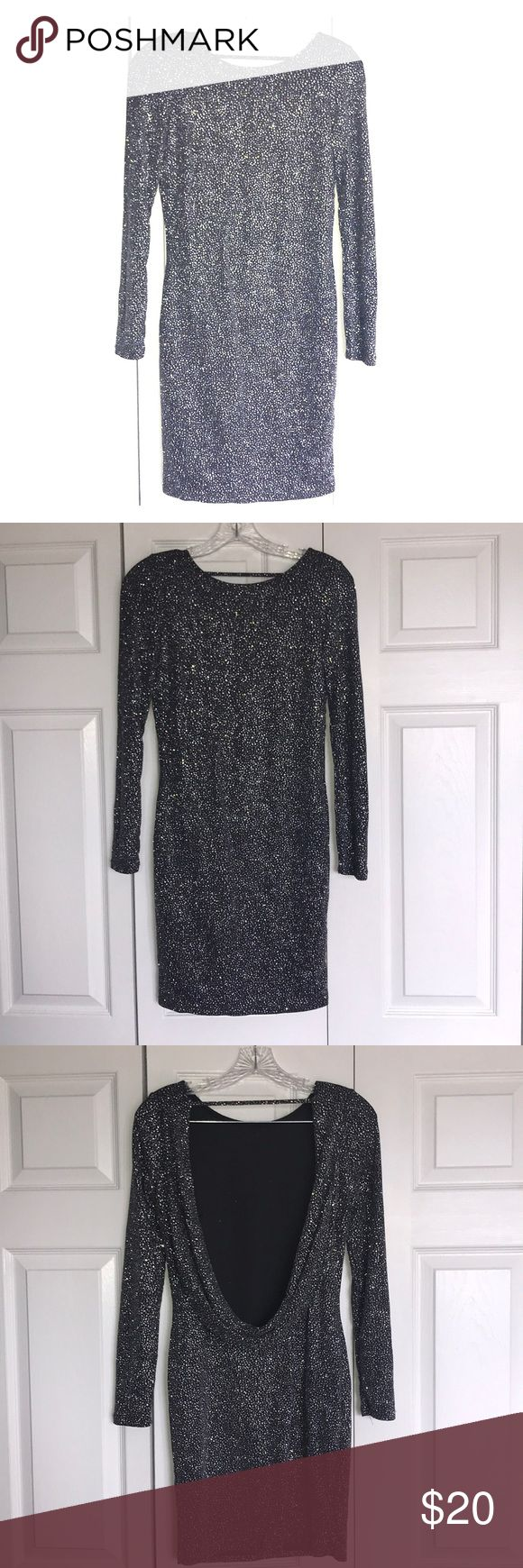 H&M Body Con Sparkle Dress with Low Back H&M Body Con Sparkle Dress with Low Back. Only worn once. Long sleeves. Strap across top of back to keep up. Gorgeous dress I just never had a reason to wear it. H&M Dresses Long Sleeve
