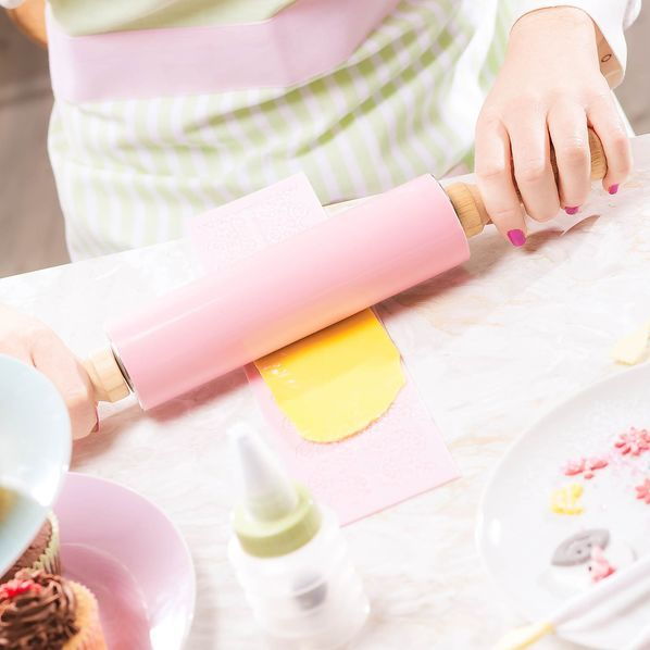 Dough roll made of silicone, L: 43cm, pink, pink