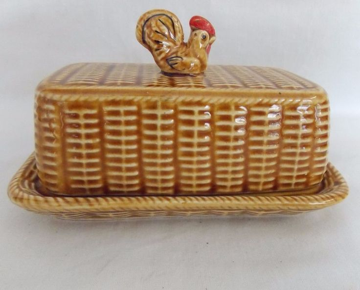 Mid Century Ceramic Covered Butter Dish Hen Rooster Basket Weave Look #4636