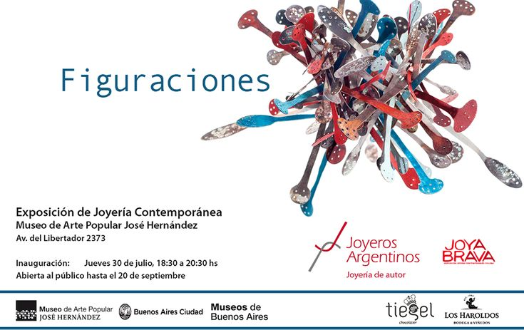 """Figurations"" /  30 Jul- 20 Sep 2015 - Museo de Arte Popular José Hernández - Av. del Libertador 2373 - 1425 - Buenos Aires - ARGENTINA ""Figurations"" is an exhibition organized by Joyeros Argentinos, presenting for the first time the work of 63 contemporary jewelry artists from Argentina and Chile, at the Museo José Hernández in Buenos Aires."