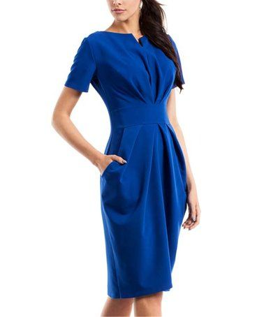 Look what I found on #zulily! Royal Blue Notch Neck A-Line Dress #zulilyfinds