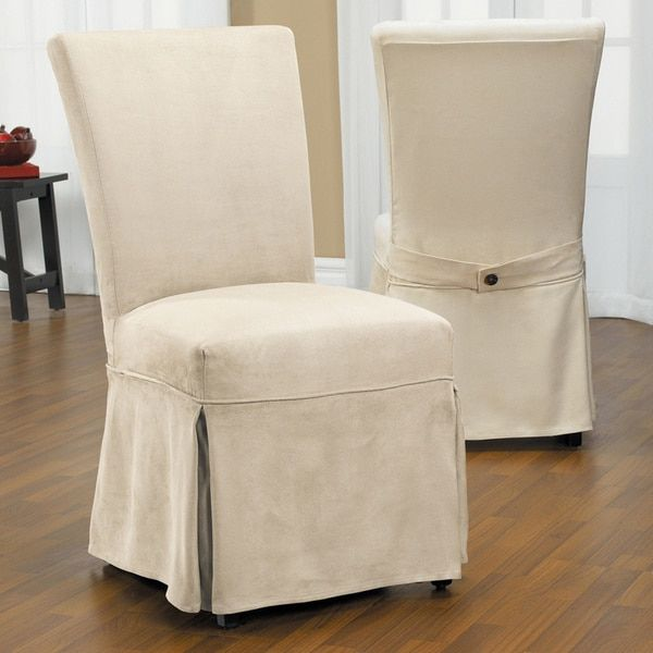 Luxury Suede Chair Relaxed Fit Long Dining Slipcover with Buttons   Overstock.com Shopping - The Best Deals on Chair Slipcovers