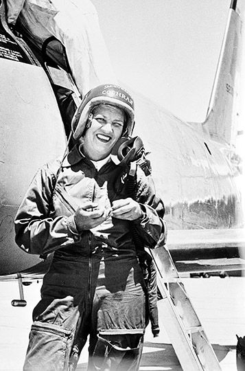 18 May 1953: At Edwards Air Force Base, California, Jacqueline Cochran flew the 100th Canadair Sabre—a Sabre Mk.3, serial number 19200—over a 100 kilometer closed circuit and set a Fédération Aéronautique Internationale (FAI) World Speed Record of 1,050.18 kilometers per hour (652.552 miles per hour).Jacqueline Cochran with Canadair Sabre Mk.3 No. 19200 at Edwards AFB. (Associated Press)